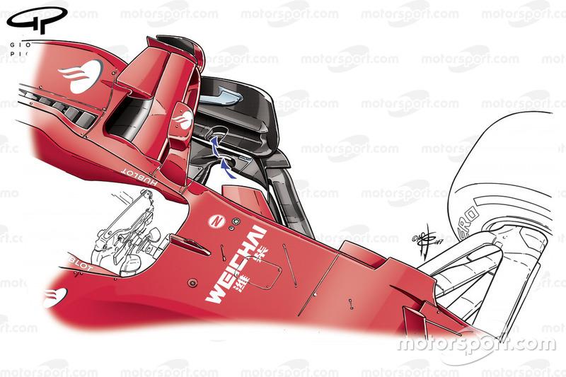 Fentes des dérives de la Ferrari SF70H, GP de Singapour
