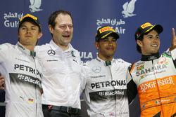 Podyum: Nico Rosberg, Mercedes AMG F1, Aldo Costa, Mercedes AMG F1, Race winner Lewis Hamilton, Mercedes AMG F1, third place and Sergio Perez, Force India