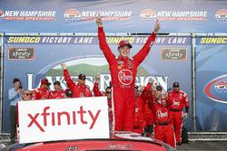 Christopher Bell, Joe Gibbs Racing, Toyota Camry Rheem celebrates after winning Russel LaBounty