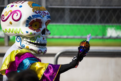 Day of the Dead style costumes in the paddock