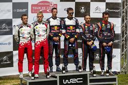 Podium: Winners Sébastien Ogier, Julien Ingrassia, M-Sport Ford WRT Ford Fiesta WRC, second place Ott Tänak, Martin Järveoja, Toyota Gazoo Racing WRT Toyota Yaris WRC, third place Thierry Neuville, Nicolas Gilsoul, Hyundai Motorsport Hyundai i20 Coupe WRC