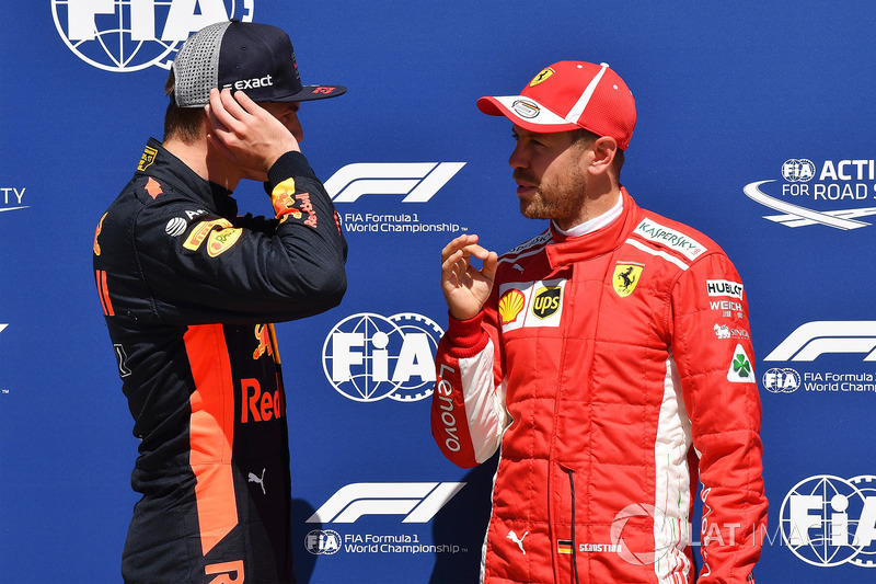 Max Verstappen, Red Bull Racing and Sebastian Vettel, Ferrari in parc ferme