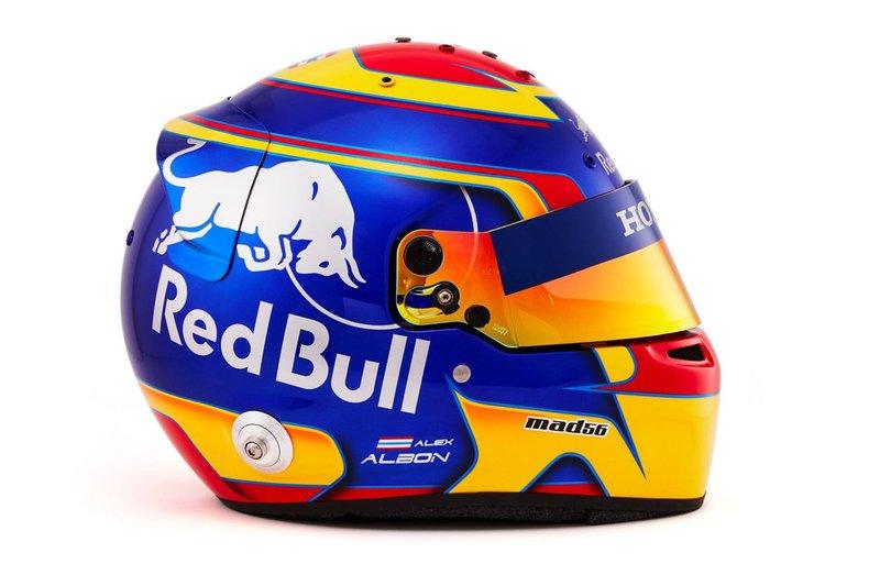 El casco de Alex Albon, Scuderia Toro Rosso