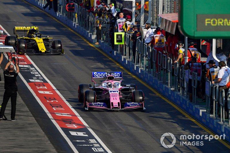 Sergio Perez, Racing Point RP19, Nico Hulkenberg, Renault F1 Team R.S. 19