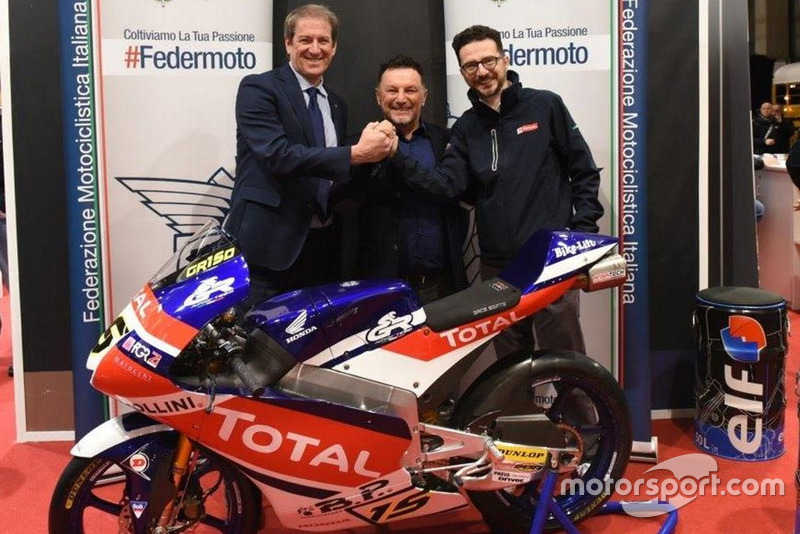 Giovanni Copioli, Presidente FMI; Fausto Gresini, Team Manager Gresini Racing; Piergiorgio Festino, Direttore Marketing Total Italia