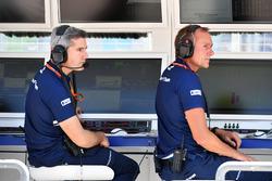 Xevi Pujolar, Sauber F1 Head of Track Engineering and Jorg Zander, Sauber Technical Director on the Sauber pit wall gantry