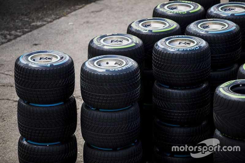Stacks of wet weather Pirelli tyres