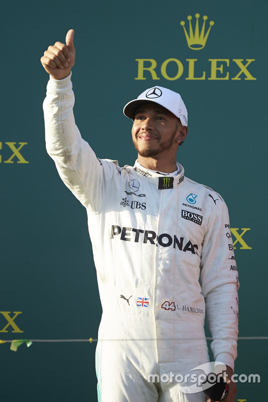Lewis Hamilton, Mercedes AMG, 2nd Position, on the podium