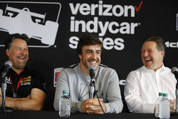 Michael Andretti, Andretti Autosport team owner, Fernando Alonso, Zak Brown press conference
