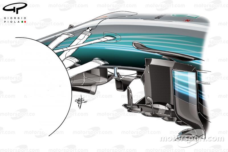 Nouvelles aubes de déviation de la Mercedes W08, GP de Monaco