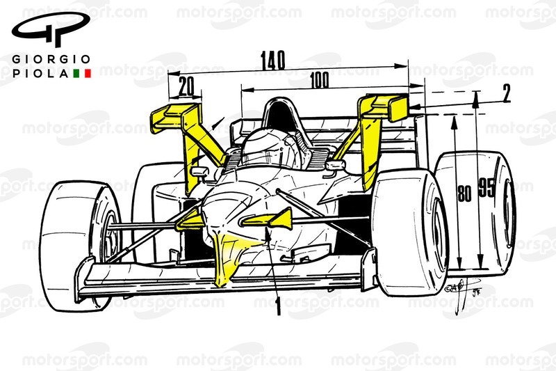 Vista frontal del Tyrrell 025, GP de Mónaco 1997