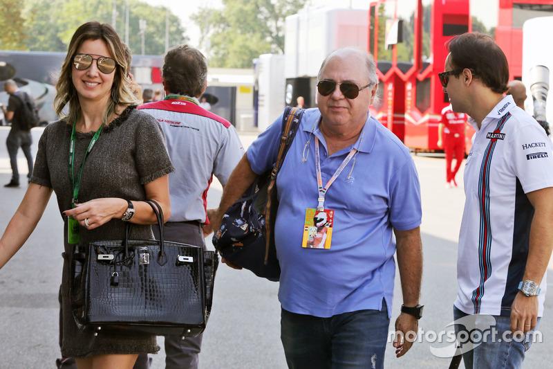 Felipe Massa, Williams with wife Rafaela Bassi, and father Luis Antonio Massa,