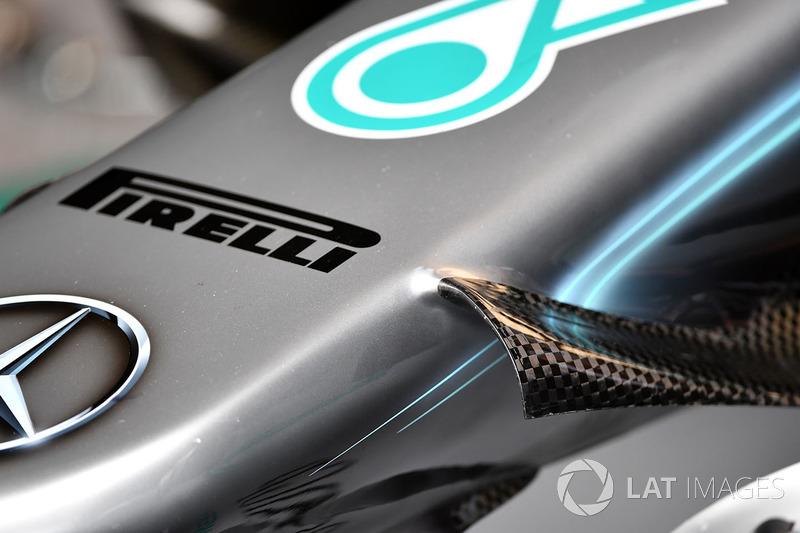 Detalle del morro del Mercedes-AMG F1 W09