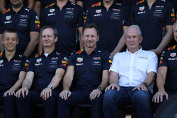 Paul Monaghan, Red Bull Racing Chief Engineer, Christian Horner, Red Bull Racing Team Principal and Dr Helmut Marko, Red Bull Motorsport Consultant at the Red Bull Racing Team photo