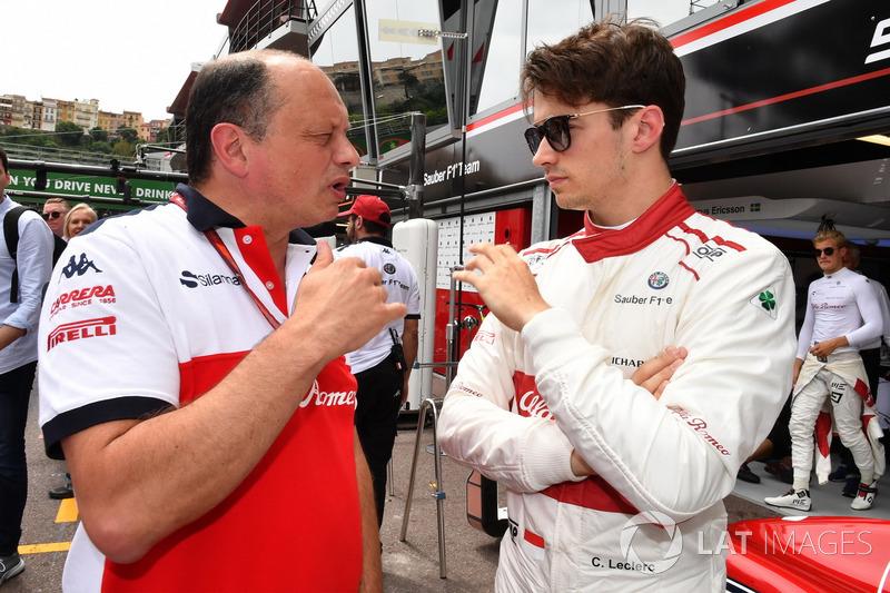 Frederic Vasseur, Sauber, Team Principal and Charles Leclerc, Sauber