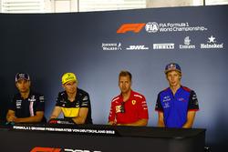Sergio Perez, Force India, Nico Hulkenberg, Renault Sport F1 Team, Sebastian Vettel, Ferrari, and Brendon Hartley, Toro Rosso, in the Press conference