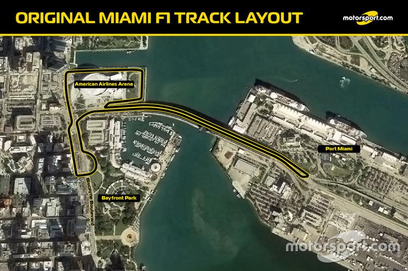 Первоначальная схема трассы Ф1 в Майами