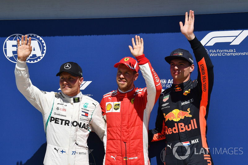 (L to R): Valtteri Bottas, Mercedes-AMG F1, Sebastian Vettel, Ferrari and Max Verstappen, Red Bull Racing celebrate in parc ferme