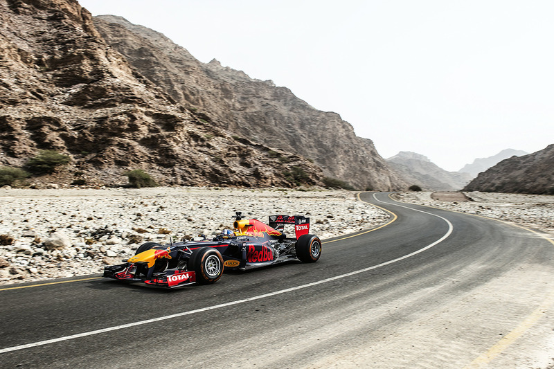 David Coulthard, Red Bull Racing during a show run in Oman