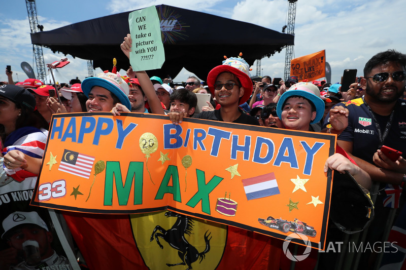 Max Verstappen, Red Bull Racing fans and Happy Birthday banner