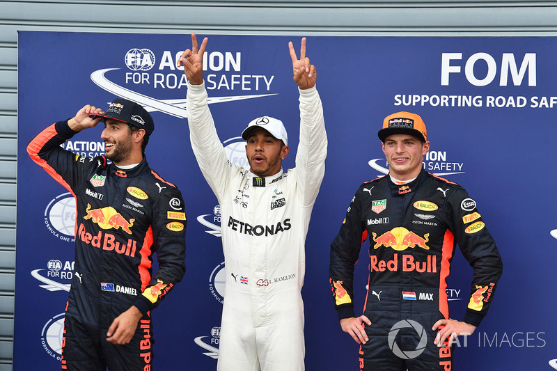 Daniel Ricciardo, Red Bull Racing, pole sitter Lewis Hamilton, Mercedes AMG F1 and Max Verstappen, Red Bull Racing celebrate in parc ferme