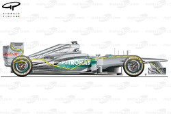 Mercedes W03 side view, yellow pipework indicative of double DRS layout