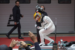 Lewis Hamilton, Mercedes AMG, celebrates on arrival in parc ferme