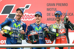 Podium: Second place Valentino Rossi, Yamaha Factory Racing, Race winner Maverick Viñales, Yamaha Factory Racing, Crutchow