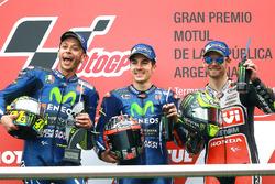 Podio: Valentino Rossi, Yamaha Factory Racing, el ganador Maverick Viñales, Yamaha Factory Racing, Crutchow