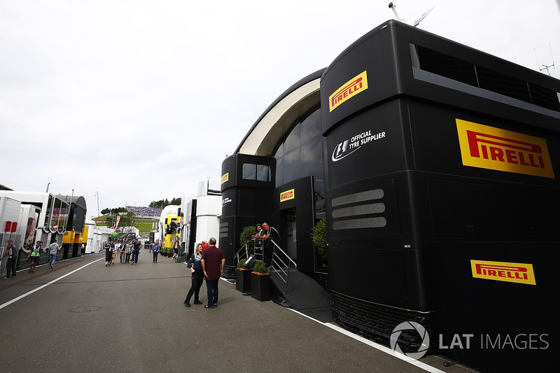 The Pirelli motorhome in the Paddock