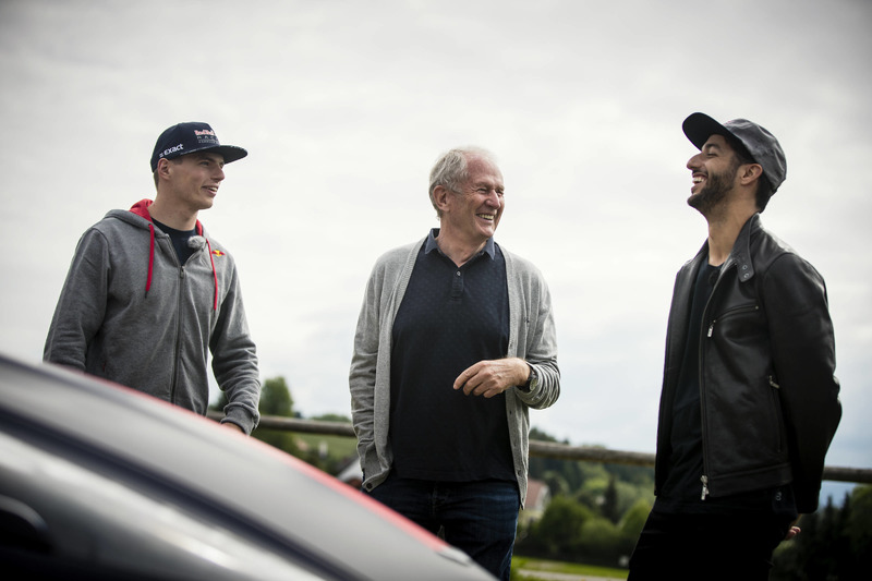 Max Verstappen, Helmut Marko y Daniel Ricciardo, Red Bull Racing