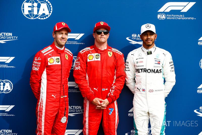 Sebastian Vettel, Ferrari, Kimi Raikkonen, Ferrari, Lewis Hamilton, Mercedes AMG F1