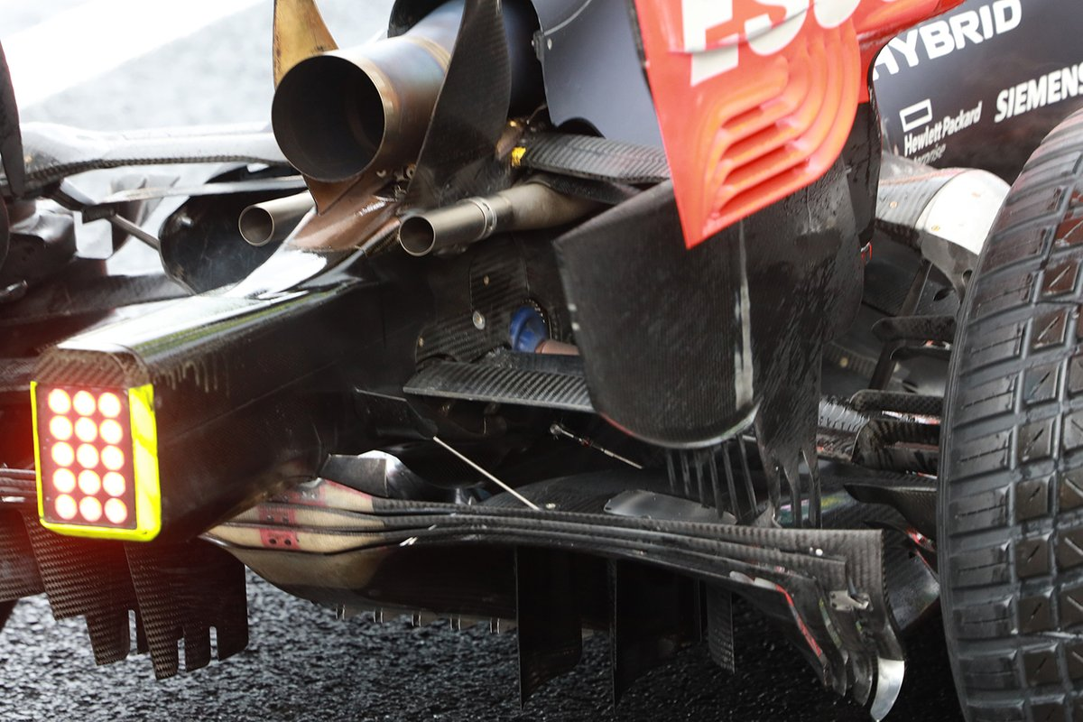 The RB16's exhaust layout has been changed by the team