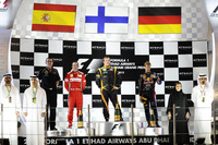 Podyum: Yarış galibi Kimi Raikkonen, Lotus F1, 2. Fernando Alonso, Ferrari, 3. Sebastian Vettel, Red Bull Racing, Eric Boullier, Lotus F1 Takım Patronu