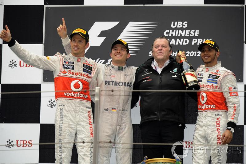 2012: 1. Nico Rosberg, 2. Jenson Button, 3. Lewis Hamilton