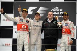 Podium: second place Jenson Button, McLaren, Race winner Nico Rosberg, Mercedes AMG F1, Norbert Haug, Mercedes Sporting Director, third place Lewis Hamilton, McLaren