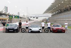 Max Verstappen, Red Bull Racing, Daniel Ricciardo, Red Bull Racing, with the Aston Martin Vanquish S. Fernando Alonso, McLaren, and Stoffel Vandoorne, McLaren, with the McLaren 720s. Lewis Hamilton, Mercedes AMG F1, and Valtteri Bottas, Mercedes AMG F1, wi