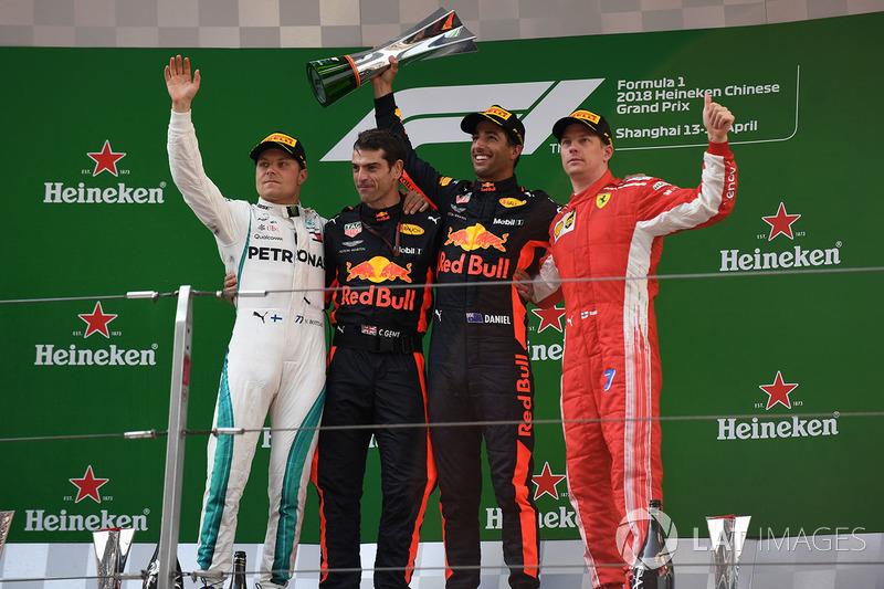 Podium: 1. Daniel Ricciardo, Red Bull Racing, 2. Valtteri Bottas, Mercedes-AMG F1, 3. Kimi Raikkonen, Ferrari
