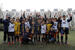 Marc Marquez, Dani Pedrosa, Repsol Honda Team witj young football players