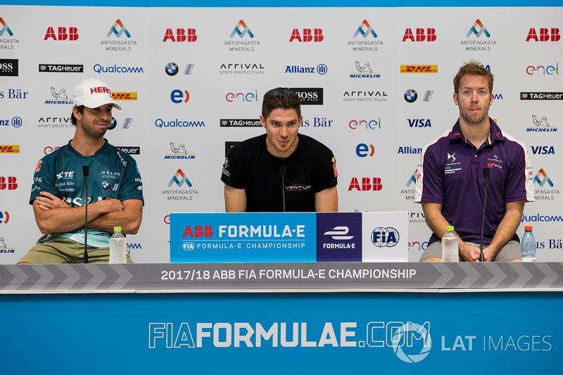 Antonio Felix da Costa, Andretti Formula E Team Team, Edoardo Mortara, Venturi Formula E Team, Sam Bird, DS Virgin Racing in the Friday press conference
