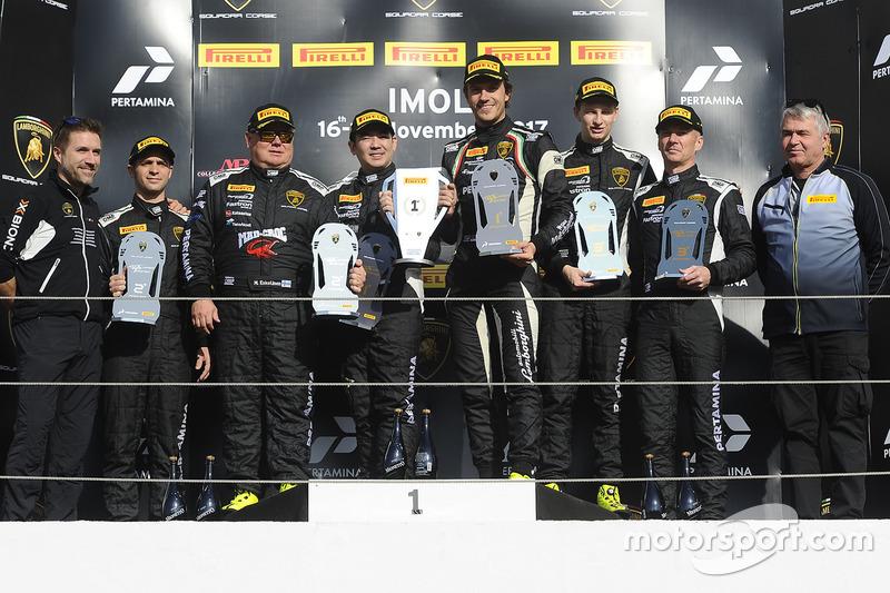 Podium Asia Pro-AM: first place Milos Pavlovic, Andrew Haryanto, X-One Racing Team, second place Mikko Eskelinen, Maxx Ebenal, Leipart Motorsport, third place Nigel Farmer, Andrea Josephsohn, GDL Racing