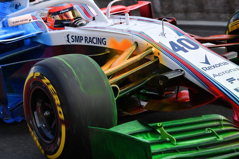 Robert Kubica, Williams FW41 con parafina en la suspensión y alerón delanteros