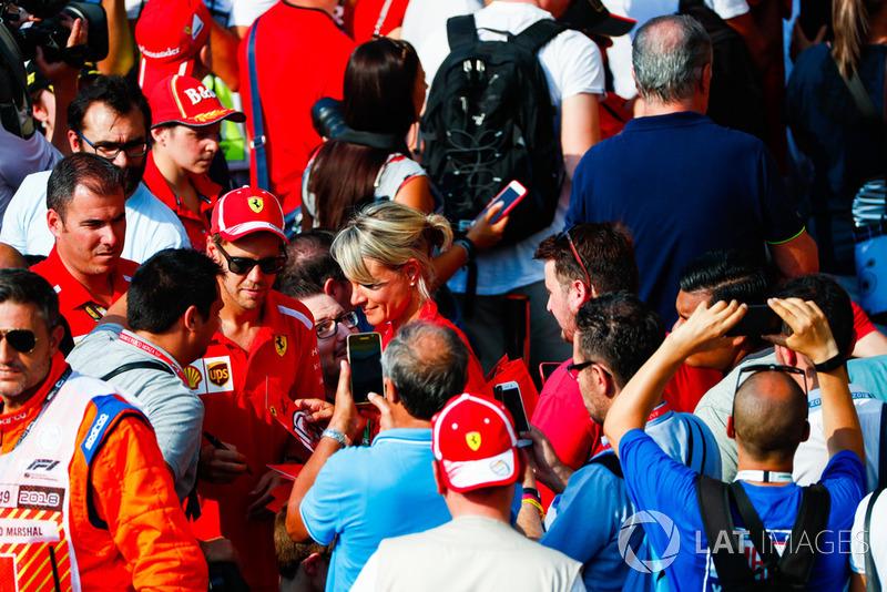 Sebastian Vettel, Ferrari, meets the tifosi