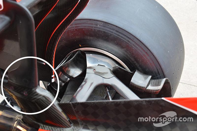 Detalle del alerón trasero del Ferrari