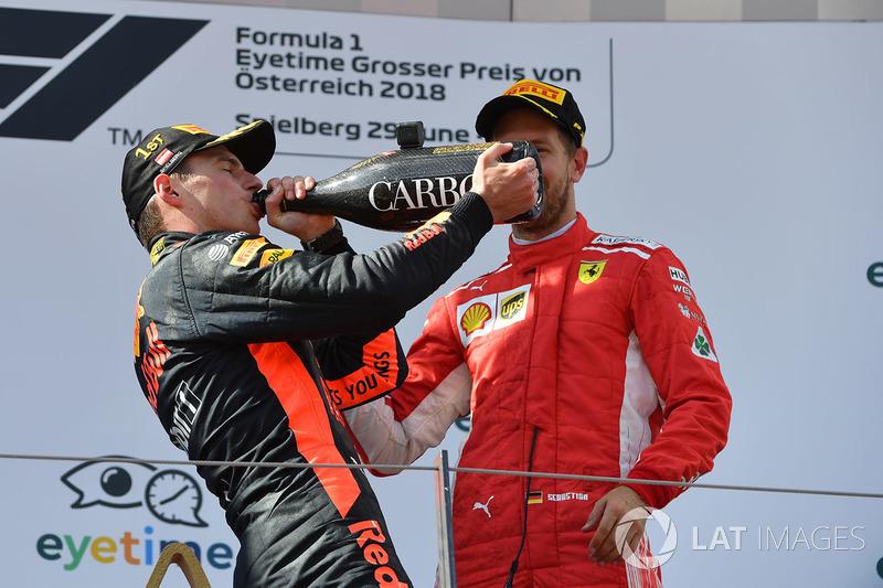 Max Verstappen, Red Bull Racing, et Sebastian Vettel, Ferrari sur le podium avec le champagne