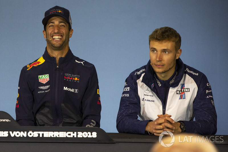 Daniel Ricciardo, Red Bull Racing and Sergey Sirotkin, Williams in the Press Conference