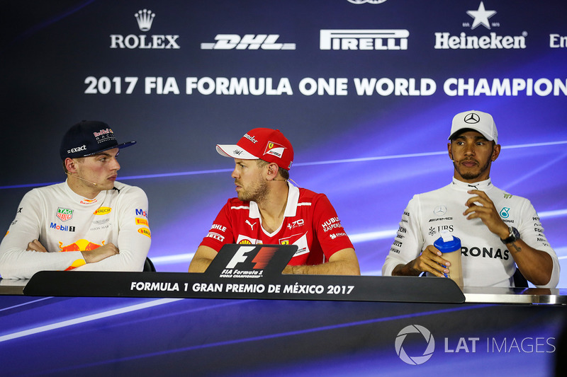 Max Verstappen, Red Bull Racing, Sebastian Vettel, Ferrari y Lewis Hamilton, Mercedes AMG F1