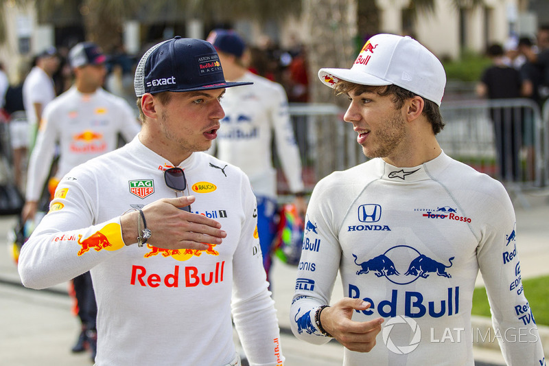Max Verstappen, Red Bull Racing and Pierre Gasly, Scuderia Toro Rosso