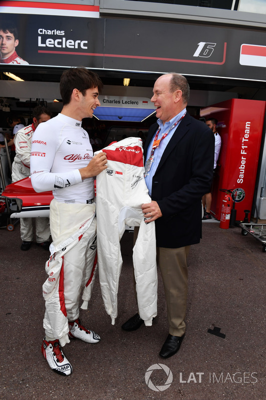 Charles Leclerc, Sauber and HSH Prince Albert of Monaco