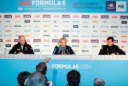Xavier Mestelan Pinon, DS Performance Director, Jean-Paul Driot, Renault e.Dams, Frank Baldet, Venturi Formula E, in the Friday Press Conference